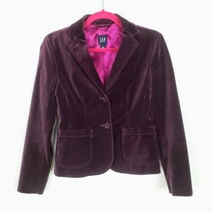 Gap 0 Velvet Blazer Jacket Plum Purple Two Button